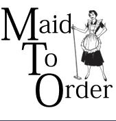 Maid with broom logo